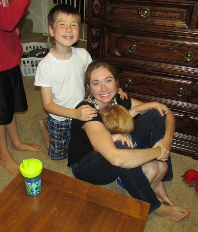 Caleb, giving me a back massage....a mom could get used to this!